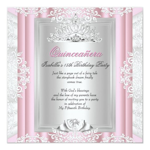 Quinceanera 15th Birthday Party Light Pink Lace Card