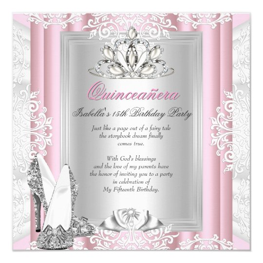 Quinceanera 15th Birthday Party Light Pink Shoes Card