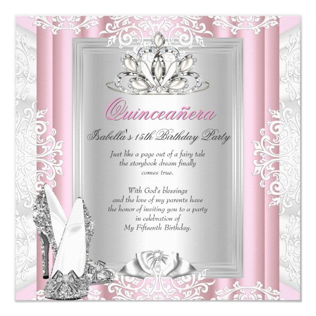 Quinceanera 15th Birthday Party Light Pink Shoes Card | Zazzle