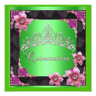 Quinceanera 15th Birthday Party lime Tiara Black Invites