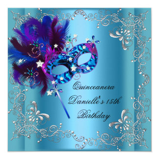 Quinceanera 15th Birthday Party Masquerade Blue Card