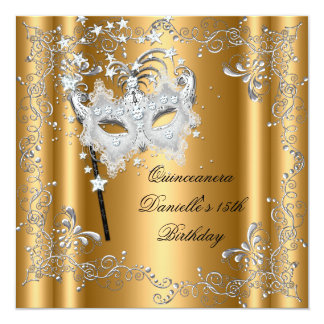Quinceanera 15th Birthday Party Masquerade Gold Card