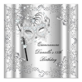 Quinceanera 15th Birthday Party Masquerade Silver Card