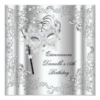 Quinceanera 15th Birthday Party Masquerade Silver Custom Invitation