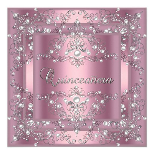 Quinceanera 15th Birthday Party Pink Pearl Custom Announcement