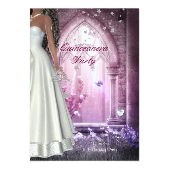 Quinceanera 15th Birthday Party Pink  White Dress Card
