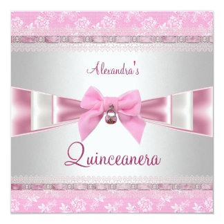 Quinceanera 15th Birthday Party Pink White Floral Card