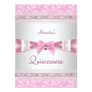 Quinceanera 15th Birthday Party Pink White Floral Personalized Announcements
