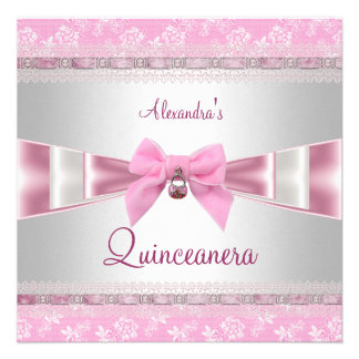 Quinceanera 15th Birthday Party Pink White Floral Announcement