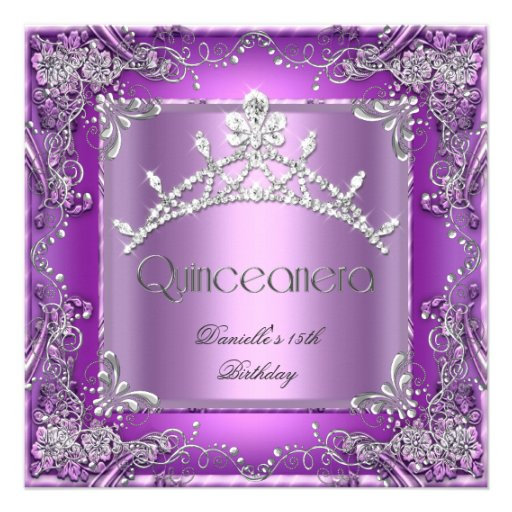 Quinceanera 15th Birthday Party Purple 2 Personalized Invitations
