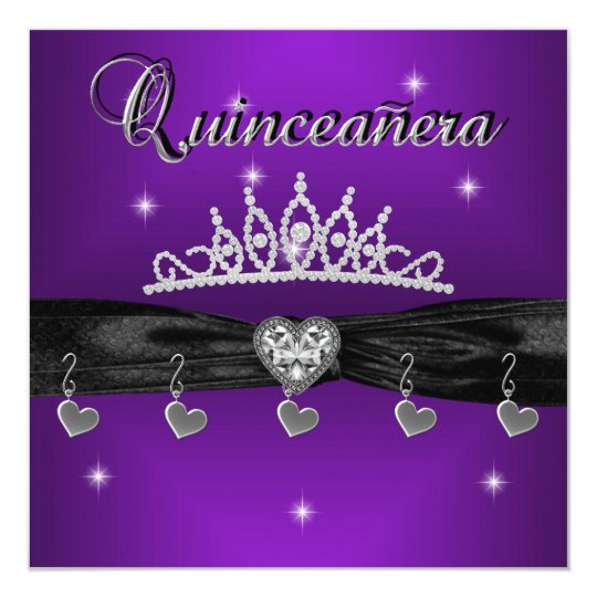 Quinceanera 15th Birthday Party Purple Black Card