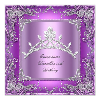 Quinceanera 15th Birthday Party Purple Card