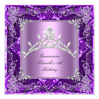 Quinceanera 15th Birthday Party Purple Lilac Card