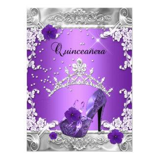 Quinceanera 15th Birthday Party Purple Silver 5.5x7.5 Paper Invitation Card