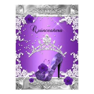 Quinceanera 15th Birthday Party Purple Silver Custom Invitations