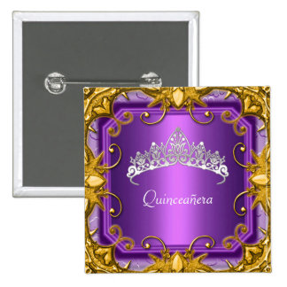Quinceanera 15th Birthday Party Purple Tiara Button