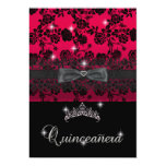 Quinceanera 15th Birthday Party Red Black Lace Personalized Invite