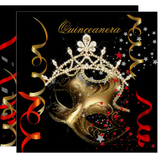 Quinceanera 15th Birthday Party Red Black Mask 2 Card