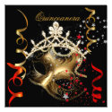 Quinceanera 15th Birthday Party Red Black Mask 2 Custom Announcement