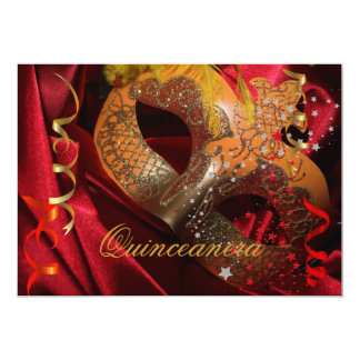 Quinceanera 15th Birthday Party Red Black Mask 3 Custom Announcement