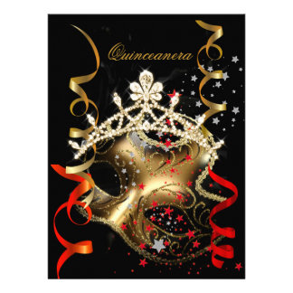 Quinceanera 15th Birthday Party Red Black Mask Personalized Invite