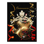 Quinceanera 15th Birthday Party Red Black Mask 6.5x8.75 Paper Invitation Card
