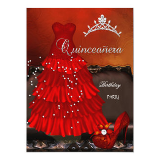 Quinceanera 15th Birthday Party Red Dress Personalized Invites