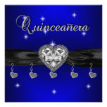 Quinceanera 15th Birthday Party Royal Blue Black Announcement