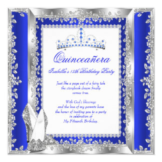 Quinceanera 15th Birthday Party Royal Blue Silver Card