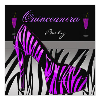 Quinceanera 15th Birthday Party Shoes Purple Zebra Card