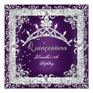 Quinceanera 15th Birthday Party Silver Purple Invitation