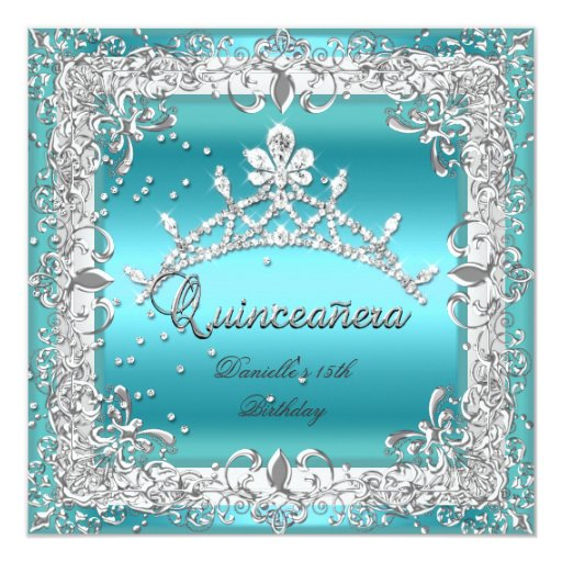 Quinceanera 15th Birthday Party Silver Teal Card
