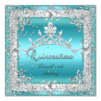Quinceanera 15th Birthday Party Silver Teal 5.25x5.25 Square Paper Invitation Card