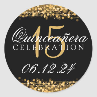 Quinceanera 15th Birthday Party Sparkles Gold Classic Round Sticker