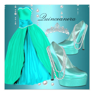 Quinceanera 15th  Birthday Party Teal Blue Dress 5.25x5.25 Square Paper Invitation Card