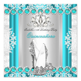 Quinceanera 15th Birthday Party Teal Blue Heels Card