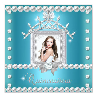 Quinceanera 15th Birthday Party Teal Blue Custom Invitations