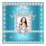 """Quinceanera 15th Birthday Party Teal Blue 5.25"""" Square Invitation Card"""