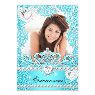 Quinceanera 15th Birthday Party Teal Blue Silver 5x7 Paper Invitation Card