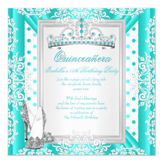 Quinceanera 15th Birthday Party Teal Blue Spots Card