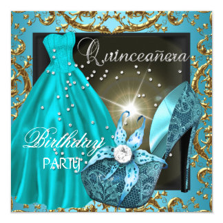 quinceanera 15th Birthday Party Teal Dress Gown 5.25x5.25 Square Paper Invitation Card