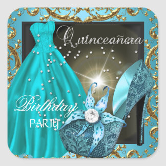 quinceanera 15th Birthday Party Teal Dress Gown Square Sticker