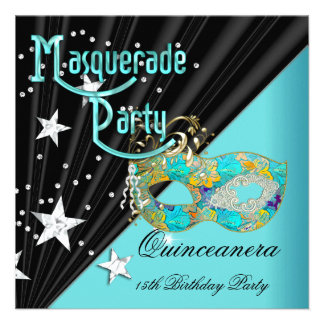 Quinceanera 15th Birthday Party Teal Gold Mask Custom Invitation