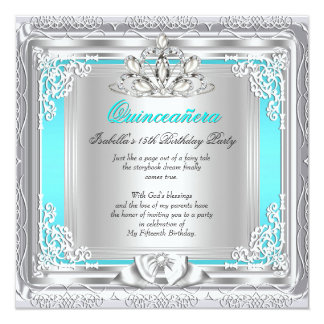 Quinceanera 15th Birthday Party Teal Silver 5.25x5.25 Square Paper Invitation Card