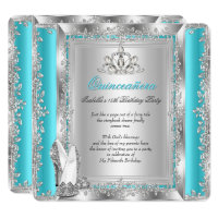 Quinceanera 15th Birthday Party Teal Silver Shoes Card