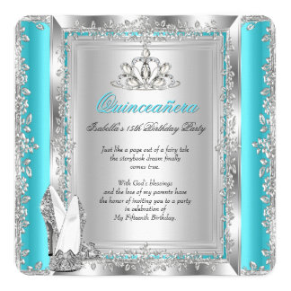 "Quinceanera 15th Birthday Party Teal Silver Shoes 5.25"" Square Invitation Card"