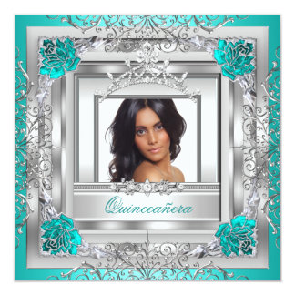 Quinceañera 15th Birthday Party Teal Silver Tiara Card