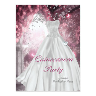 Quinceanera 15th Birthday Party White Dress 2 Custom Announcement