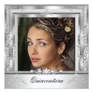 Quinceañera 15th Birthday Party White Silver Tiara 5.25x5.25 Square Paper Invitation Card