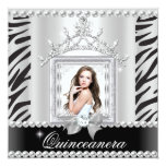 Quinceanera 15th Birthday Party Zebra Black White Custom Invites